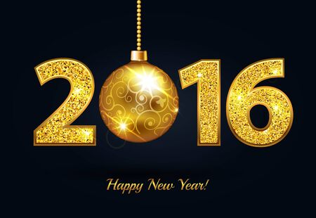 Happy New Year 2016 gold sparkle text