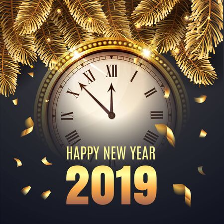 Illustration New Year Midnight 2017 Glowing Background with Clock. Elegant Christmas illustration with gold and black colors and confetti. Rich and luxury congratulations. Vector illustration