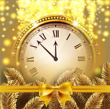 Twelve o'Clock on New Year's Eve in colored gold glittered background with gold bow and fir tree branches