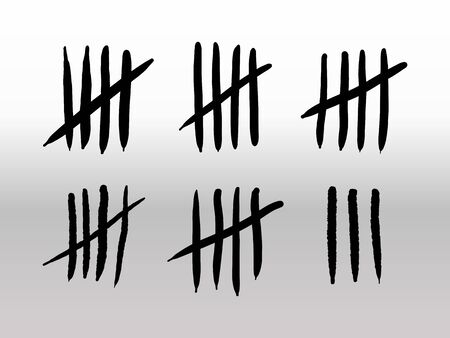 Tally marks of count day in prison on a wall isolated on white background. Counting signs cross. Vector
