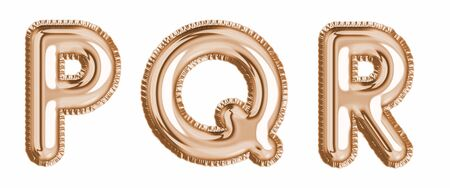 Gold foil balloon alphabet set letter P, Q, R realistic 3d illustration metallic pink gold air balloon. Collection of balloon isolated ready to use in headlines, greeting, celebration vector eps Ilustração