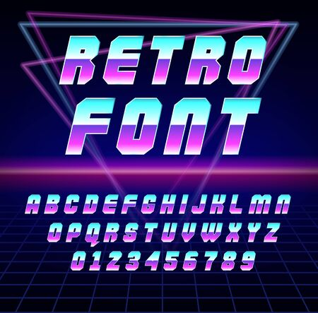 Shiny Chrome Alphabet in 80s Retro Futurism Sci-Fi style. Vector Retro galaxy space font in the style of the 1980 holographic font. vector illustration abc in neon abstract background