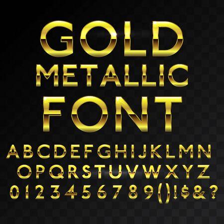 Gold metallic glossy vector font or gold style alphabet. Yellow metal typeface. Metallic golden abc, alphabet typographic luxury premium deluxe text effect isolated in transparent black background Ilustración de vector