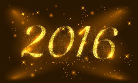 Happy New Year 2016 Golden Greeting Card with glitter gold letters. Holiday design. Vector illustration. Party poster, greeting card, banner or invitation. Number 2016 formed by glowing gold dust