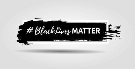 Black lives matter slogan hashtag isolated in frame with ink background. Vector illustration.