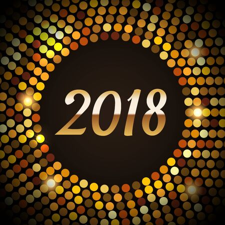 2018 Happy New Year glowing gold background in a disco style. Shining Gold party lights frame Vector illustration