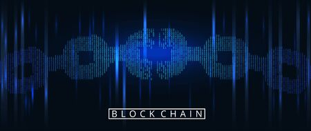 Blockchain digital illuminated shape. Chain shape in code matrix background. Disconected torn chain Big data node base concept. Vector illustration