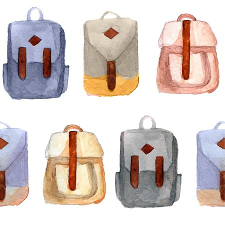 Various watercolor retro backpacks, briefcases in hipster style