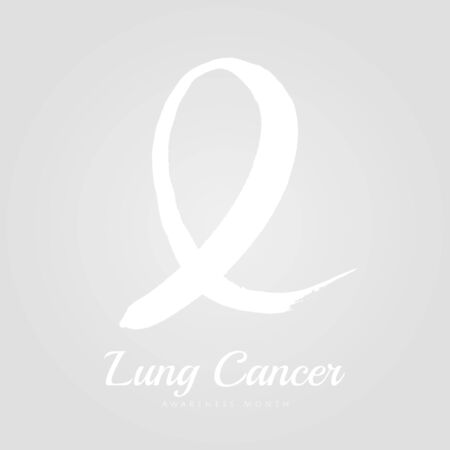 Lung cancer ribbon awareness month on blue watercolor background. Can be used for poster, flyer, banner, quotes