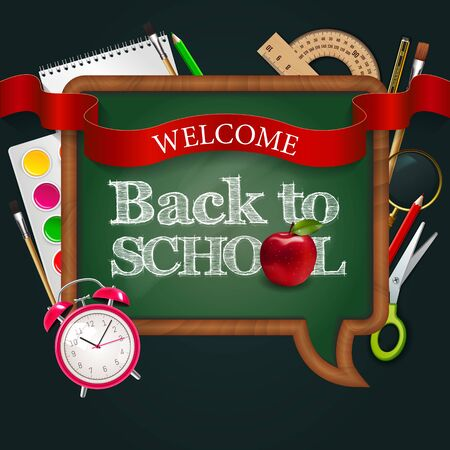 Welcome back to school, blackboard speak bubble with ribbon, red apple, alarm watch and colorful school supplies. Vector illustration.