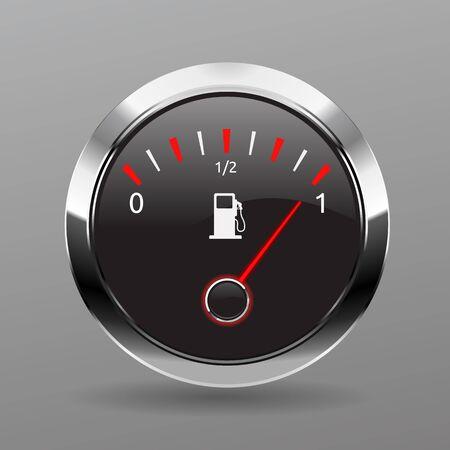 Kraftstoffanzeige. Kraftstoffanzeige Gaszähler. Symbol für volle Vektortankanzeige. Auto Zifferblatt Benzin Benzin Armaturenbrett. Treibstofftank. Vektor-Illustration. EPS 10