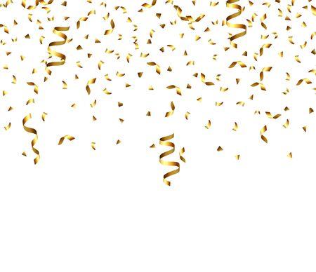 Golden explosion of confetti, glitter texture. Golden grainy abstract texture on a black transparent background. Design element. Vector illustration,eps 10. Ilustracje wektorowe