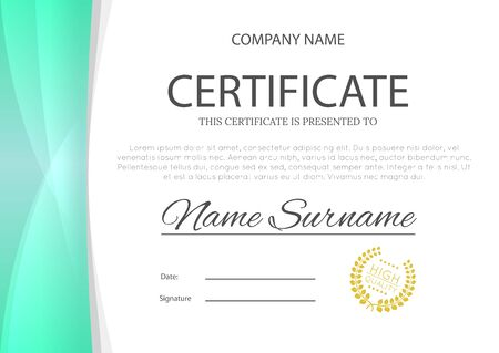 Modern turquoise blue or green color certificate or diploma A4 horizontal template design vector illustration mock-up.