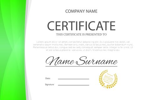 Modern green color certificate or diploma A4 horizontal template design vector illustration mock-up. Vettoriali