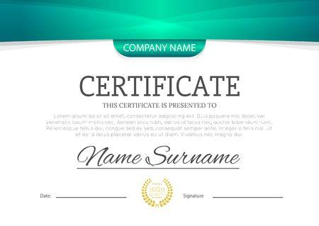 Certificat ou diplôme de couleur bleu turquoise ou vert moderne A4 maquette d'illustration vectorielle de conception de modèle horizontal.