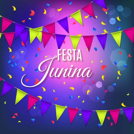 Festa Junina party greeting design with garland and explosion of colored confetti. Vector illustration