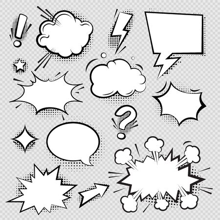 Set of comic speech bubbles and elements with halftone shadow effect in transparent background. Comic bubble collection word empty set design. Word bubbles, retro comic shapes. Think and speak clouds Illustration