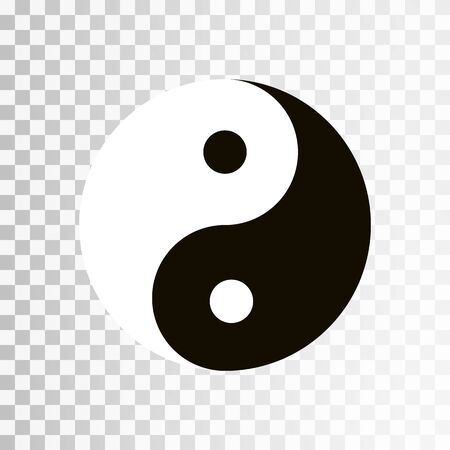 Yin Yang symbol. Vector icon of harmony and balance, yinyang sign isolated on transparent background.