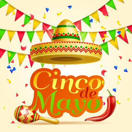 Cinco De Mayo lettering celebration vector background with sombrero, chili paper, garland, confetti ,maracas royalty free stock for greeting card, ad, promotion, poster, flyer, social media Vettoriali