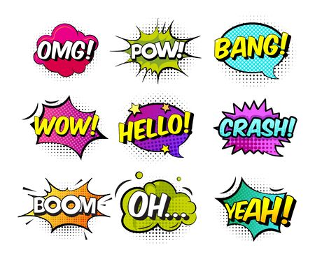 Collection of nine multicolored comic sound Effects. Comic sound effects in pop art vector style. Sound bubble speech with word and comic cartoon halftone expression sounds illustration