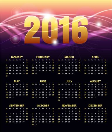 Calendar for 2016 on abstract golden shiny background. Week Starts Sunday. Stylish black Vector Template 版權商用圖片 - 148093156