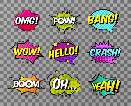 Collection of nine multicolored comic sound Effects on transparent background. Comic speech bubbles set, comic wording sound effect set design for comic background, comic strip. Vector illustration.