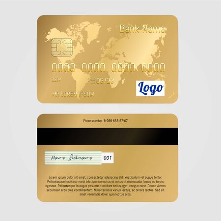 Realistic Vector Golden Banking card two sides isolated on white background. Credit card with world map. 向量圖像