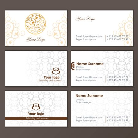 Set business card. Round Ornament Pattern. Vintage decorative elements. Islam, Arabic, Indian, ottoman motifs.
