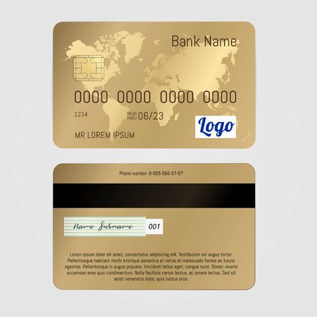Realistic Vector Golden Banking card two sides isolated on white background. Credit card with world map. 版權商用圖片 - 148094296