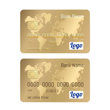 Realistic detailed credit gold cards set isolated on white background. Vector Gold bank card with world map illustration.