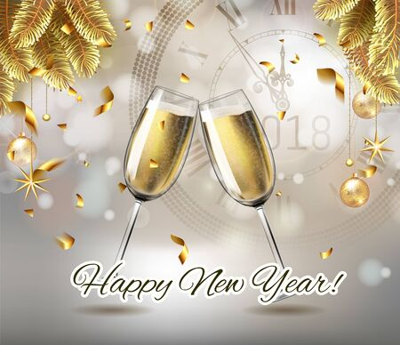 Vector Happy New Year with toasting glasses of champagne on sparkling winter holiday background in realistic style with clock. Greeting card or party invitation with golden Christmas tree, confetti