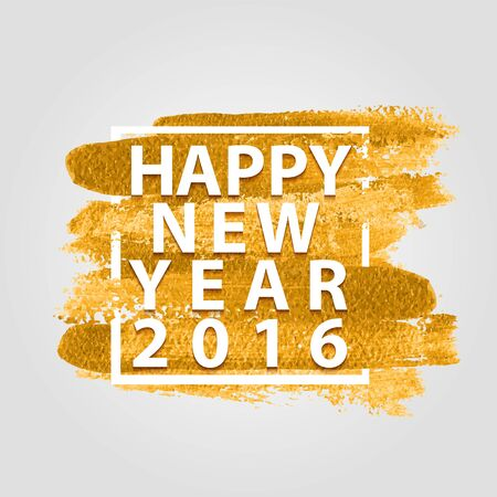 Happy New Year 2016 quotes on the gold paint background 向量圖像