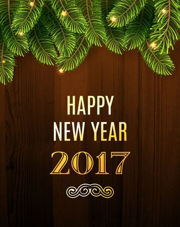 Christmas Greeting Card. Inscription with Christmas and new year 2017 against wooden texture and branches of a New Year's tree Christmas. Vector Illustration.