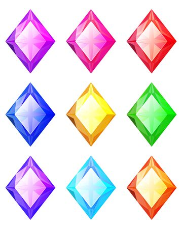 Set of cartoon rhombus different color crystals, rhinestones, gems, diamonds vector stock collection for game design isolated on white background. Gui elements, vector assets. Menu for mobile games