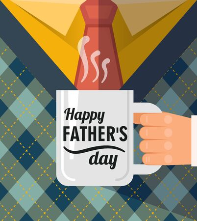 Happy father's day , a coffee cup congratulation. Best dad postcard. Illustration