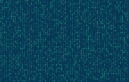 Stream of binary code on screen. Abstract vector background. Data and technology, decryption and encryption, computer matrix background with the blue symbols and numbers. Vector illustration. EPS 10 Vetores