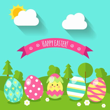 Flat style background with eggs on the grass, and a small nice chicken that hatched from eggs, and landscape, vector illustration. Happy Easter greeting card