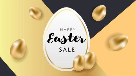 Happy Easter luxury banner background template with beautiful golden eggs on black and gold geometric background. Happy Easter greeting card. Vector illustration