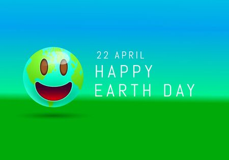 Happy Earth day with cute smiling emoji face of planet earth. 3d Smiley cartoon happy face emoticon modern design for social network, Color concept for conversations, online chats, web sites . Vector