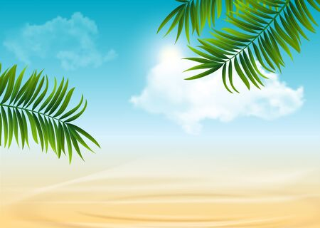 Palm and tropical summer vector beach background with clouds ans bright sun