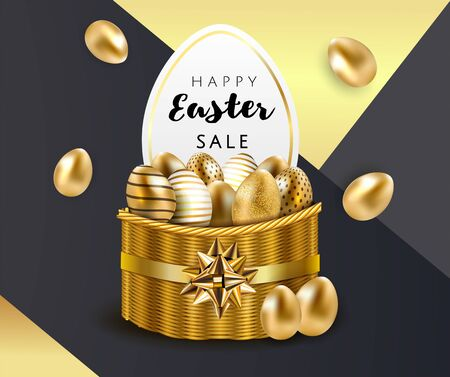 Happy Easter sale luxury premium banner background template with beautiful basket full of decorative gold eggs on black and gold geometric background. Happy Easter greeting card. Vector illustration