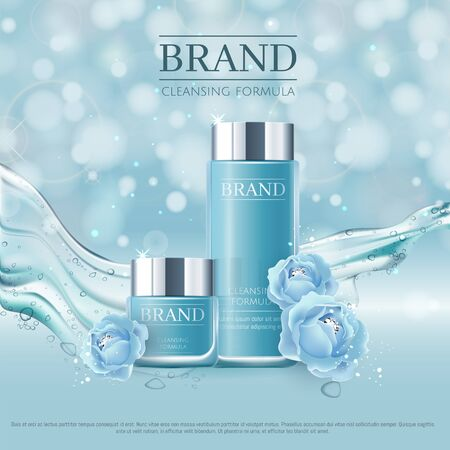 Blue background with realistic vector moisturizing cosmetic cleansing premium products. Premium VIP cosmetic ads, hydrating Blue Packaging Cream and Body Lotion with blue roses, diamonds and splash
