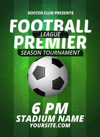 Soccer league flyer design sports invitation template. Vector stock football premier league invitation for sport tournament or championship Stock Illustratie