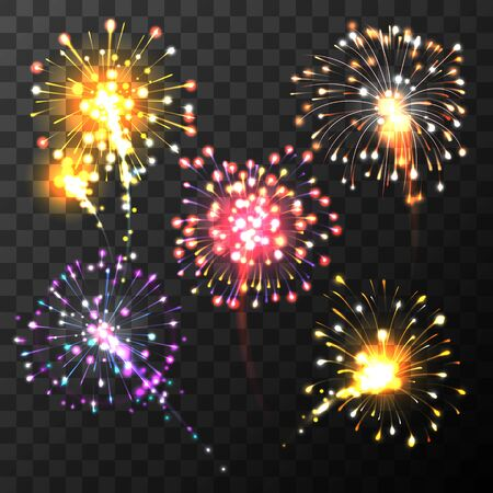 Festivecolored firework burst in various shapes sparkling pictograms set isolated on transparent dark background abstract vector isolated illustration