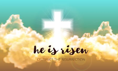 He is risen. Easter banner background with clouds, divine sunlight , crucifixion, cross and sun rise. Vector illustration