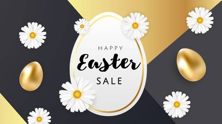 Happy Easter luxury banner background template with beautiful camomiles and golden eggs on black and gold geometric background. Happy Easter greeting card. Vector illustration