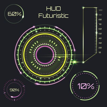 Futuristic interface, HUD, computer technology vector background Imagens - 148274395