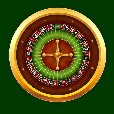 Vector stock illustration beautiful realistic casino wheel of European roulette. EPS 10.