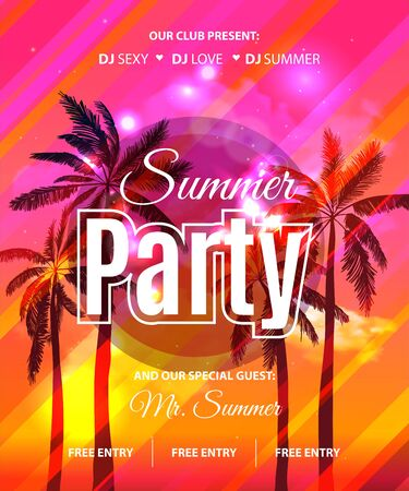 Summer Beach Party Flyer with tropical palm background.
