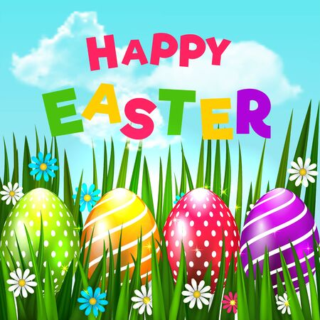 Bright Easter Card. Template card with Easter eggs, grass and flowers on the blue sky background with colored inscription. Floral paints. Happy Easter. Vector background. Ilustración de vector